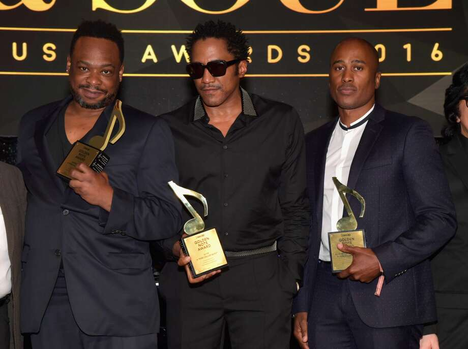 Rappers Jarobi White, Q-Tip and Ali Shaheed Muhammad of A Tribe Called Quest, recipients of the ASCAP Golden Note Award, pose at the 2016 ASCAP Rhythm & Soul Awards at the Beverly Wilshire Four Seasons Hotel on June 23, 2016 in Beverly Hills, California. Photo: (Photo By Lester Cohen/Getty Images For ASCAP)