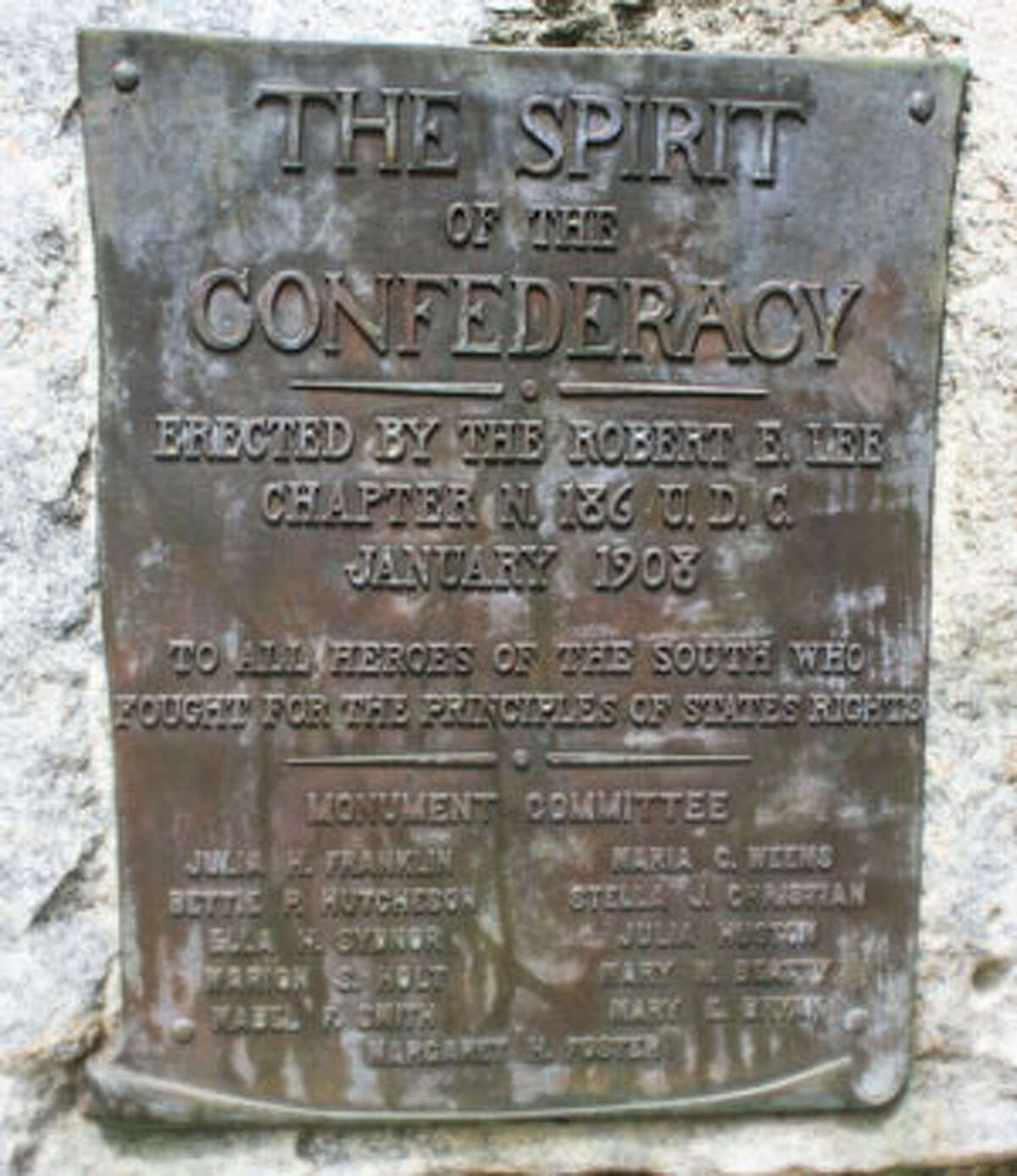 """Plaque on """"Spirit of the Confederacy"""" in Sam Houston Park."""