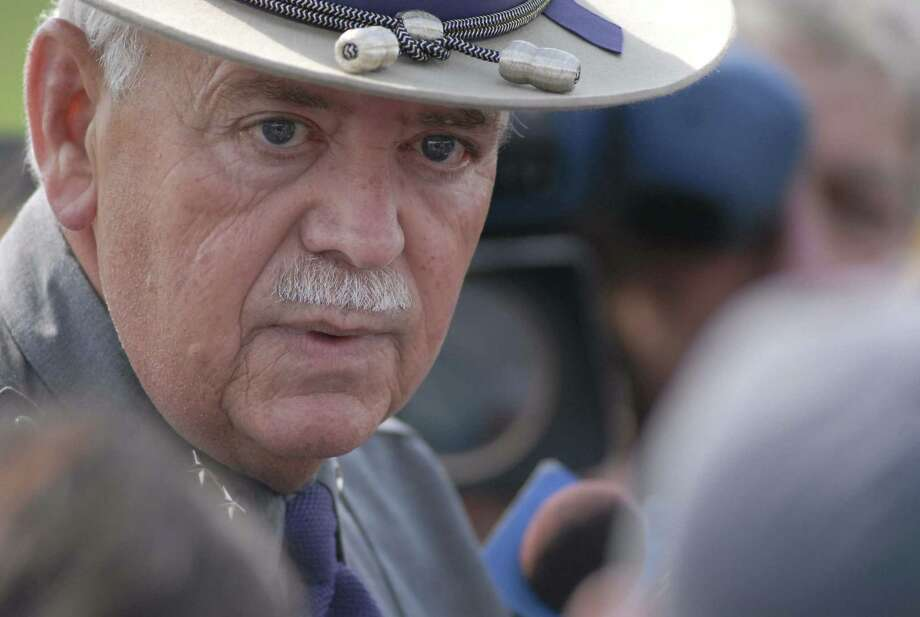 New York State Police Superintendent Wayne Bennett addresses the media during a midday press conference at command post on Friday, Sept. 8 2006, in Carroll N.Y.  Officials are searching the area for Ralph Phillips. Photo: WW, WILL WALDRON / ALBANY TIMES UNION