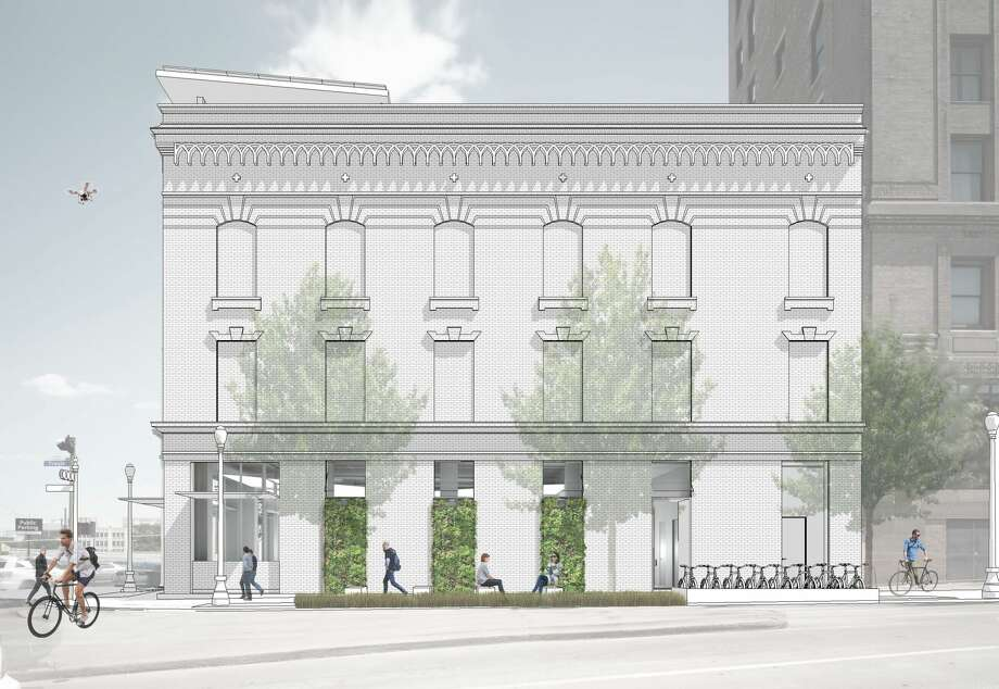 A rendering of the Travis Street facade of the new Architecture Center Houston. Photo: Murphy Mears