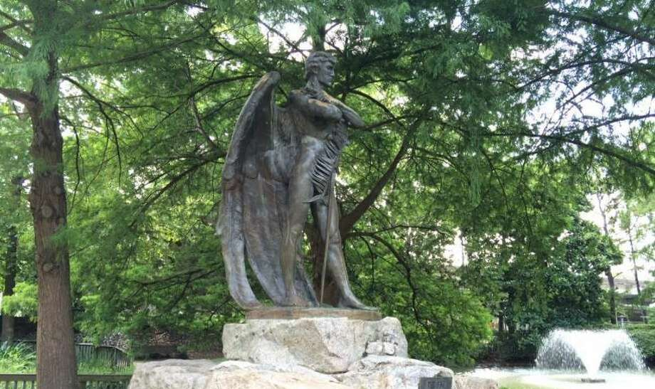 """""""The Spirit of the Confederacy"""" statue in Sam Houston Park. Photo: Gabrielle Banks"""