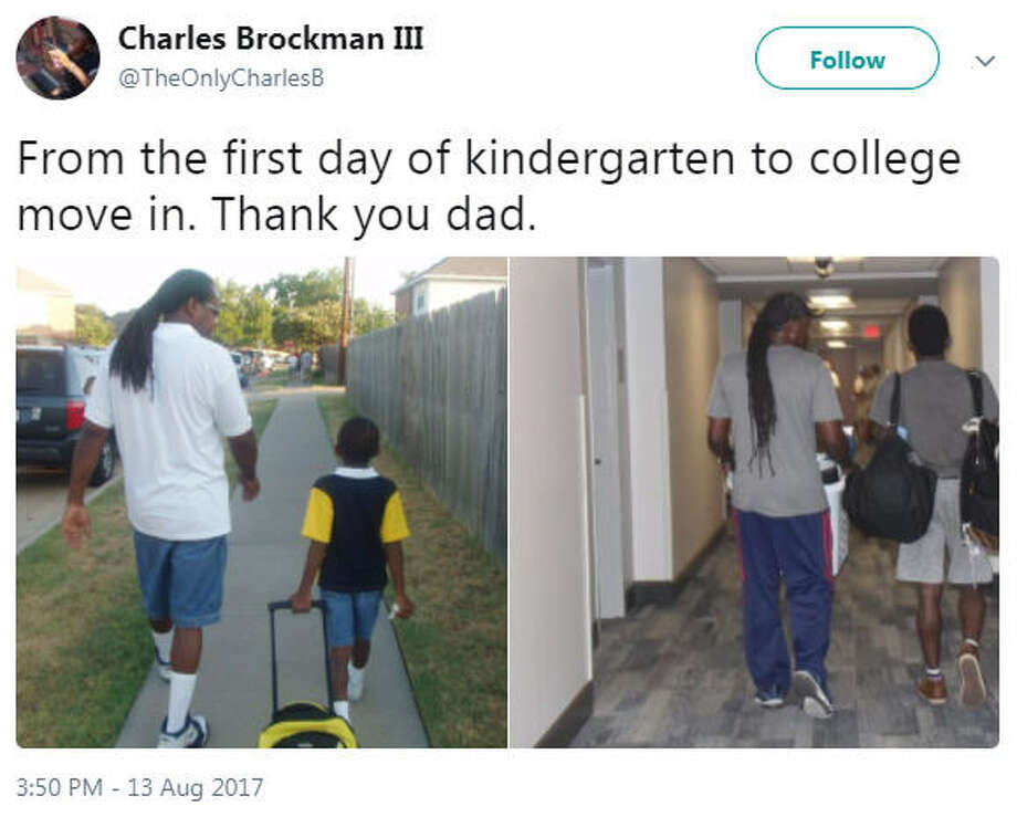 Charles Brockman III gave his dad the ultimate shout out on Twitter thanking him and Twitter went crazy with all of the feels.Source: Twitter Photo: Twitter