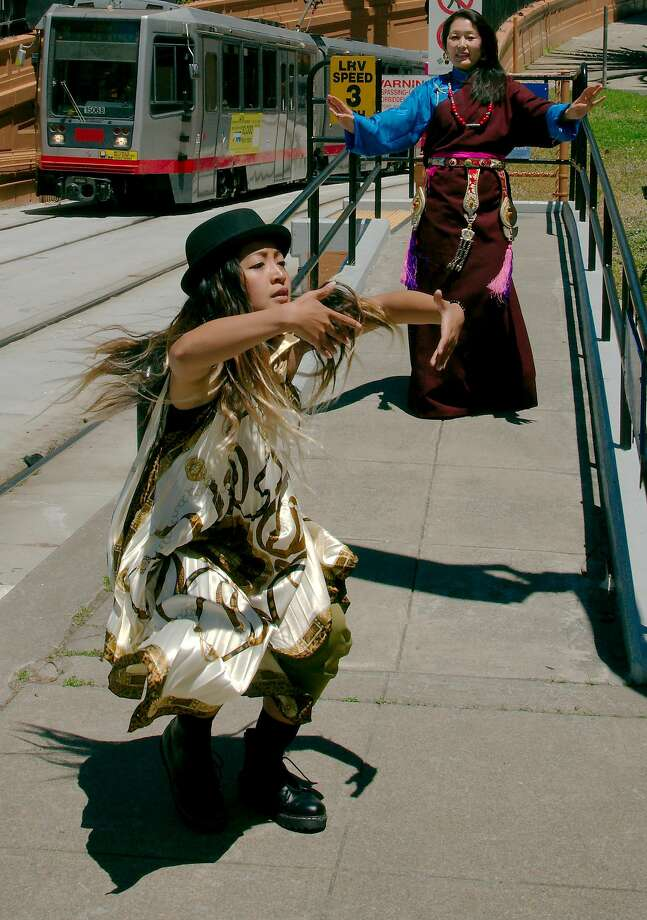Sammay Dizon (left) and Tsering Wangmo perform in S.F. in June as part of a Trolley Dances tour. Photo: Andy Mogg