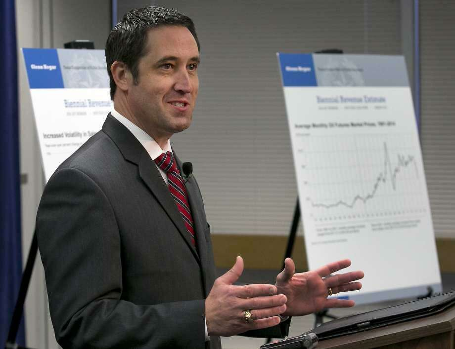 Texas Comptroller Glenn Hegar talks about how much money the state can expect to bring in during a January news conference, Hegar is expected to revise his estimate of the state's revenue upward this week, giving the Legislasture more money to spend. Photo: /
