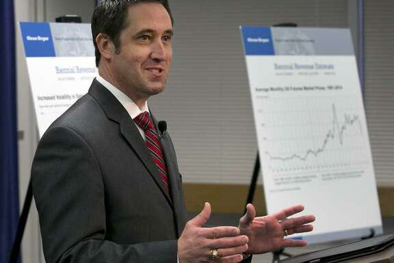 Texas Comptroller Glenn Hegar talks about how much money the state can expect to bring in during a January news conference, Hegar is expected to revise his estimate of the state's revenue upward this week, giving the Legislasture more money to spend.