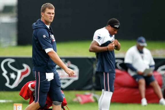 New England Patriots quarterback Tom Brady was onto the field during a joint practice between the Houston Texans and the Patriots at training camp at The Greenbrier on Tuesday, Aug. 15, 2017, in White Sulphur Springs, W.Va.