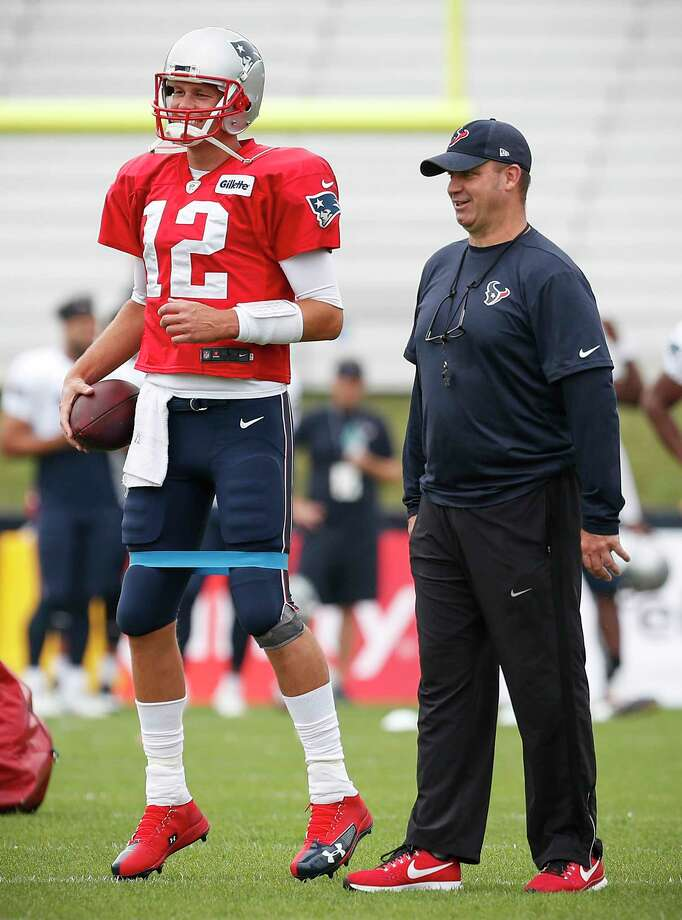 New England Patriots quarterback Tom Brady (12) and Houston Texans head coach Bill O'Brien talks during a joint practice between the Texans and the Patriots at training camp at The Greenbrier on Tuesday, Aug. 15, 2017, in White Sulphur Springs, W.Va. Photo: Brett Coomer, Houston Chronicle / © 2017 Houston Chronicle}