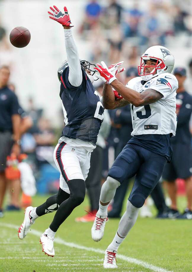 Devin Lucien (right) was in training camp with the Patriots this year. This week, the Texans signed the wide receiver to the practice squad. Photo: Brett Coomer, Houston Chronicle / © 2017 Houston Chronicle}