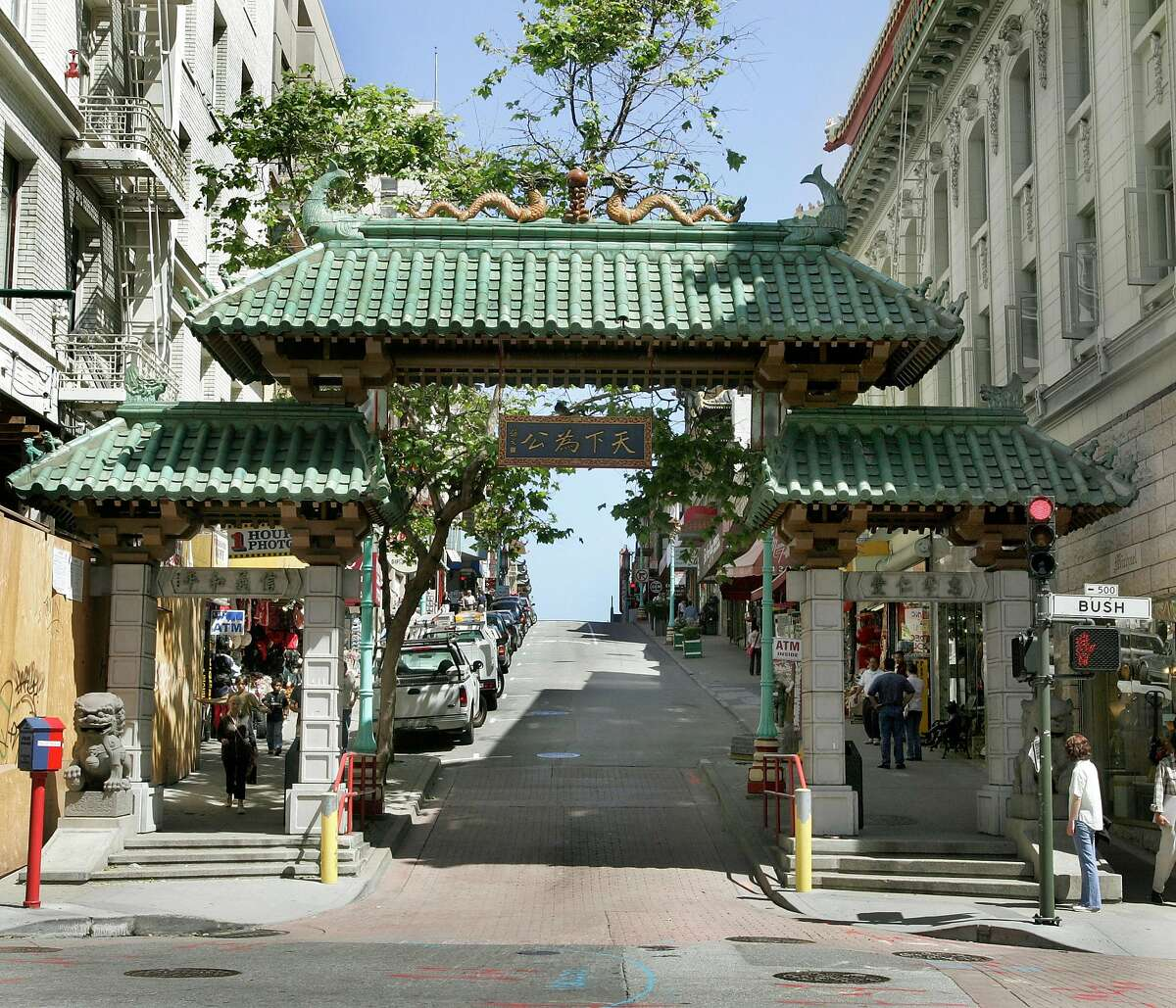 SFGATE_075_fl.jpg The city wants to erect a gate at the other end of Chinatown - current gate (at Grant and Bush Street in photo) and of the area where the proposed gate would be - Grant at Broadway. 5/25/05 San Francisco CA Frederic Larson The San Francisco Chronicle This gate at the entrance to Chinatown, on Grant Avenue at Bush Street, may eventually be matched by a gate at the other end of Grant, at Broadway.