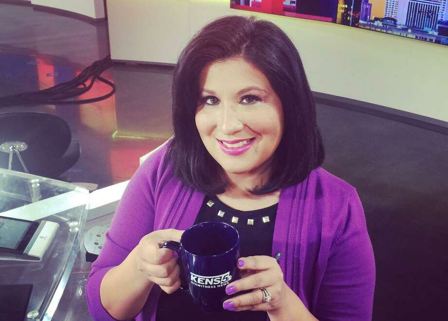 KENS anchorwoman and reporter Jenny Suniga enjoys a badly needed cup of coffee on the renovated news set. She's exiting her job of five years with the local CBS affiliate to focus on her family. Photo: Courtesy Photo