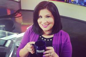 KENS anchorwoman and reporter Jenny Suniga enjoys a badly needed cup of coffee on the renovated news set. She's exiting her job of five years with the local CBS affiliate to focus on her family.