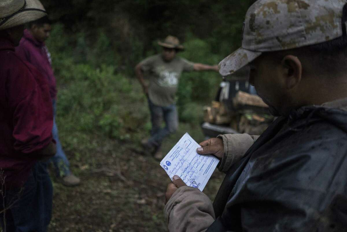 A Forest Keeper checks a permit from men thought to be illegal loggers. The permit was determined invalid, and their tools were confiscated. illegal logging.