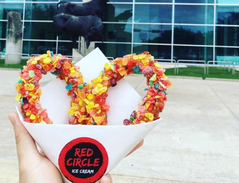 Colorful looped churros, ice cream and other treats can be found at Chinatown's new spot Red Circle Ice Cream. Photo: Courtesy