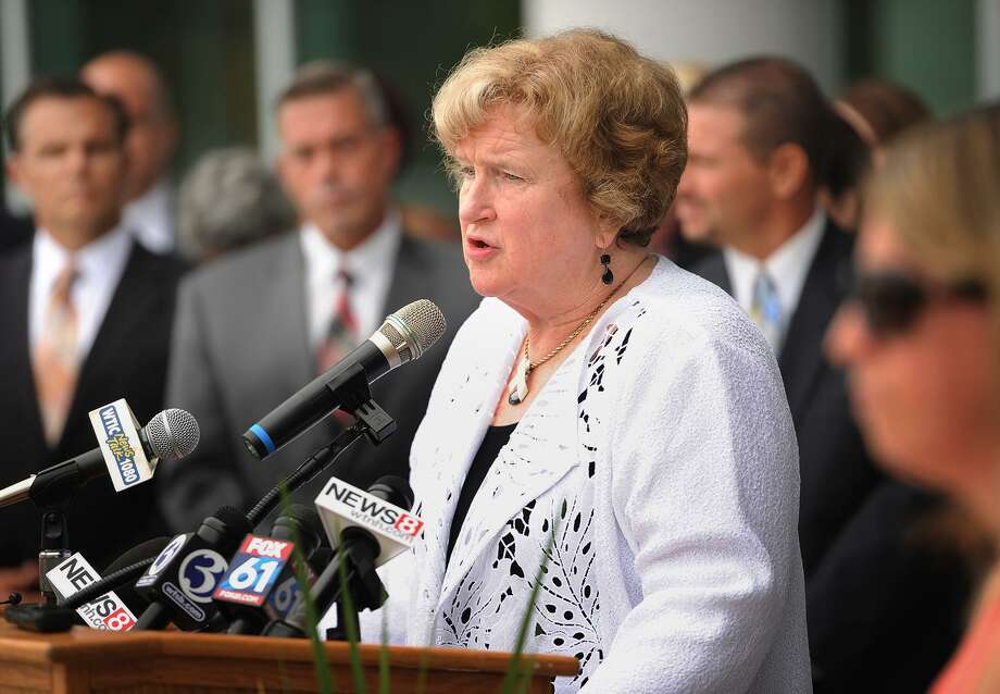 "CAPSS Executive Director and former Bridgeport Superintendent Fran Rabinowitz speaks during a ""show of concern"" event following the Commissioner's Annual Back-to-School Meeting with Superintendents at Maloney High School in Meriden, Conn. on Tuesday, August 15, 2017. Speakers urged legislators and the governor to move forward on a state budget to avoid harming public education. Photo: Brian A. Pounds / Hearst Connecticut Media / Connecticut Post"