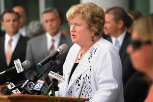 """CAPSS Executive Director and former Bridgeport Superintendent Fran Rabinowitz speaks during a """"show of concern"""" event following the Commissioner's Annual Back-to-School Meeting with Superintendents at Maloney High School in Meriden, Conn. on Tuesday, August 15, 2017. Speakers urged legislators and the governor to move forward on a state budget to avoid harming public education."""