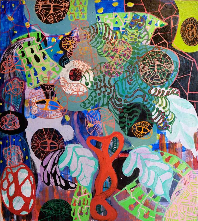 """Wendy Ide Williams' """"Fireflies in the Night Garden- Coaxing the Epithylim"""" acrylic gouache on canvas (photo W Jaeger)"""