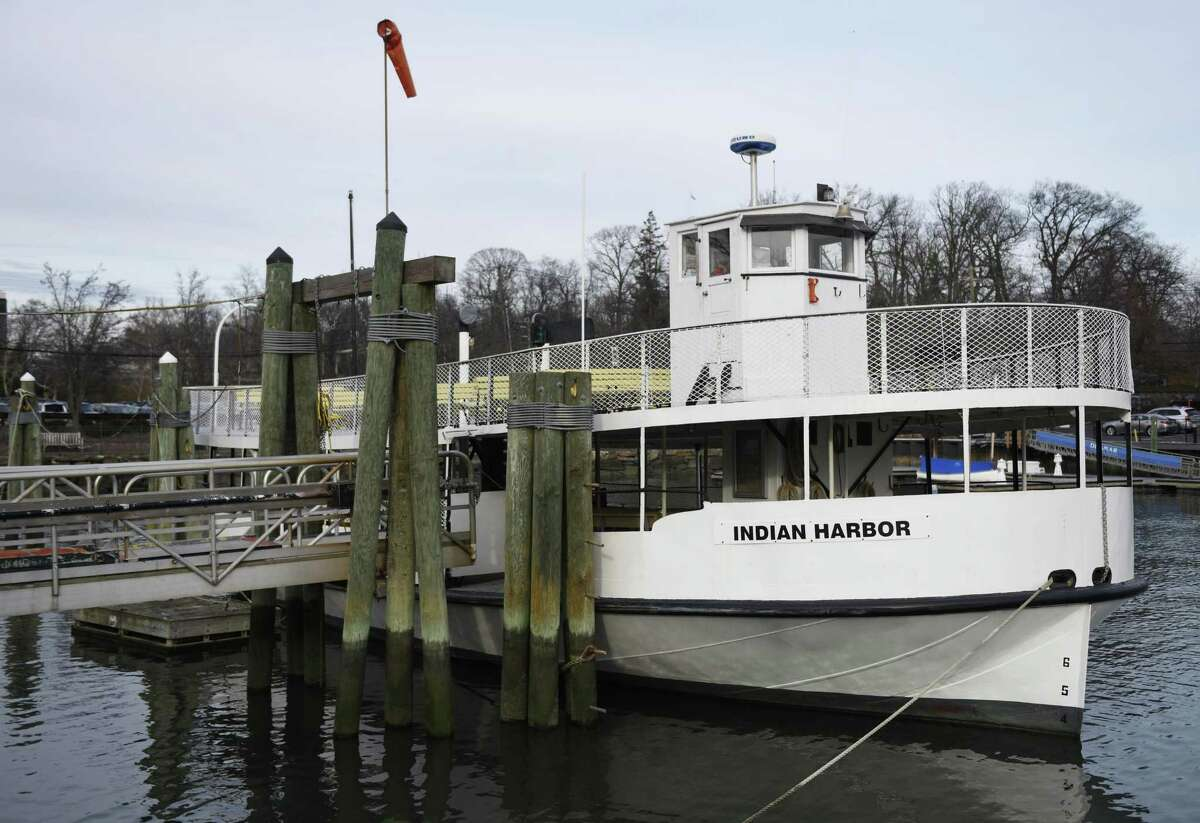 The Island Beach and Great Captain Island Ferry docked on Greenwich Harbor. Daily Island Beach ferry service will be discontinued for the season after Labor Day.
