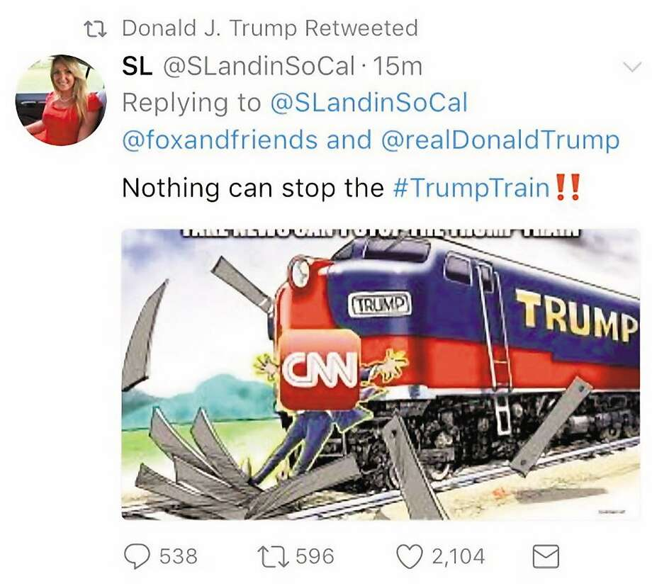 "Trump in August retweeted and then deleted a cartoon showing a ""Trump"" train plowing into a figure labeled ""CNN."" Photo: Via Twitter"