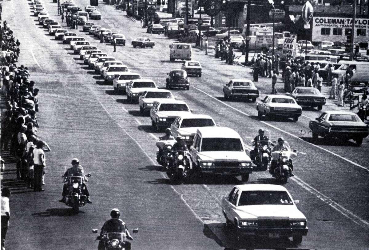 Elvis Presley's funeral cortege in Memphis.