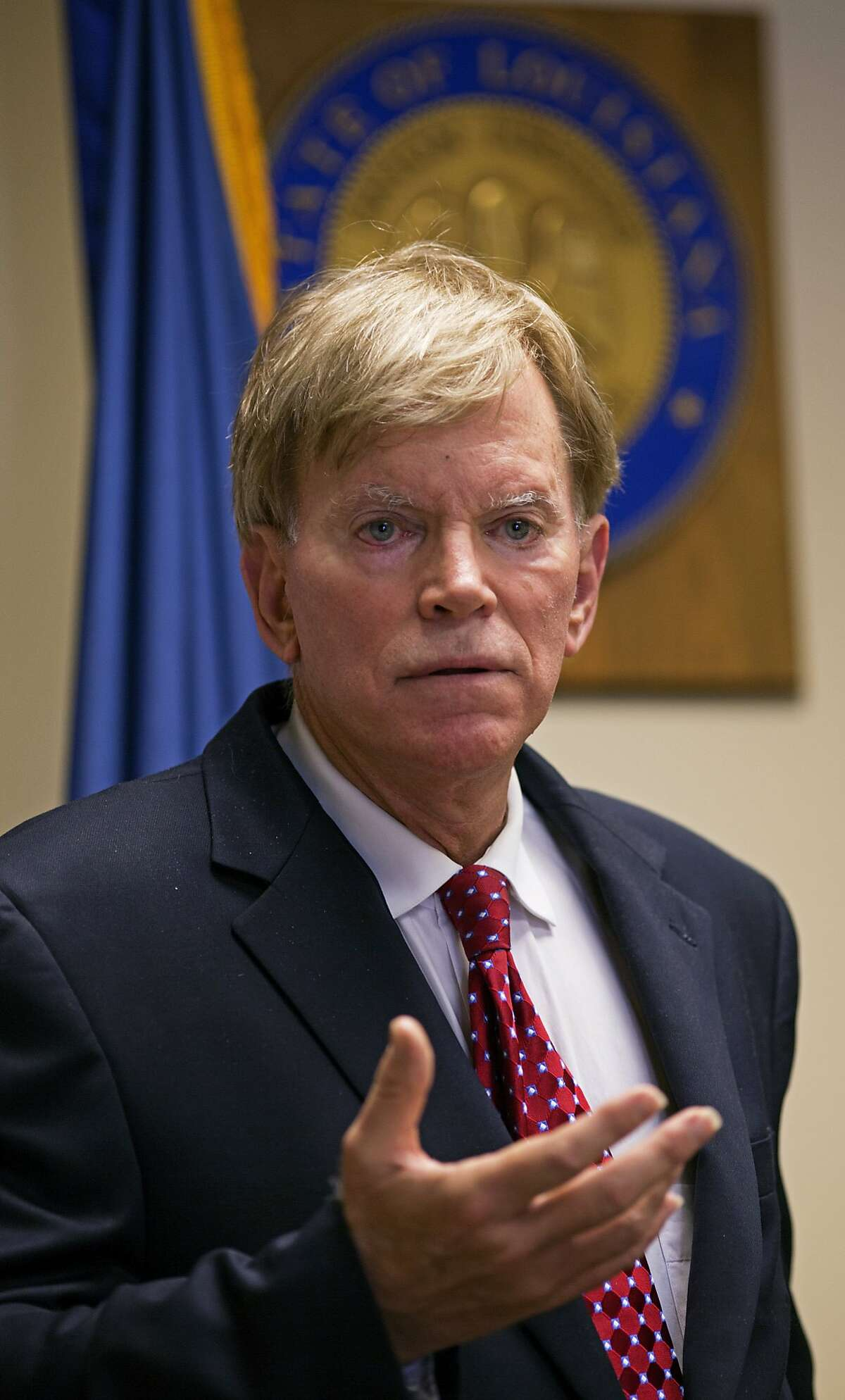 Former Ku Klux Klan leader David Duke talks to the media at the Louisiana Secretary of State's office in Baton Rouge, La., on Friday, March 22, 2016, after registering to run for the U.S. Senate, saying