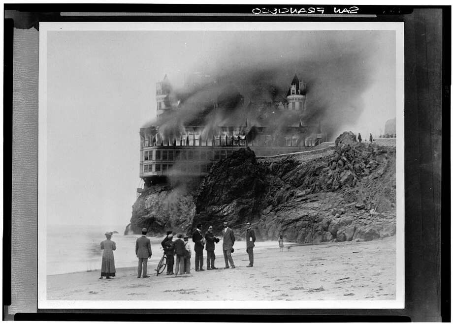 a tower of flame on the rock  marking the 110th cliff house filey cliff house fire 1966