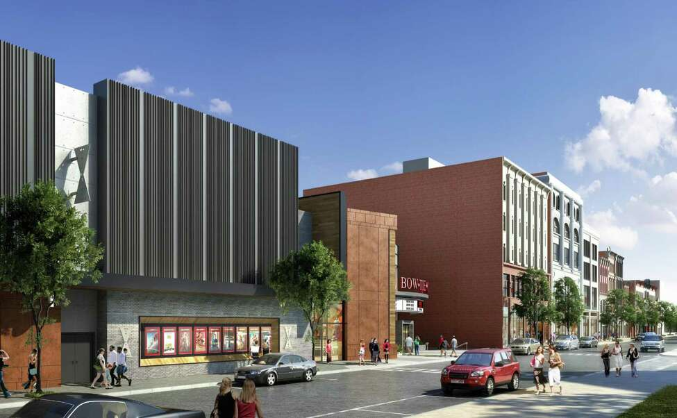 New rendering for the proposed 11-theater multiplex from Bow Tie Cinemas at 1 Monument Square in Troy, N.Y. (City of Troy)