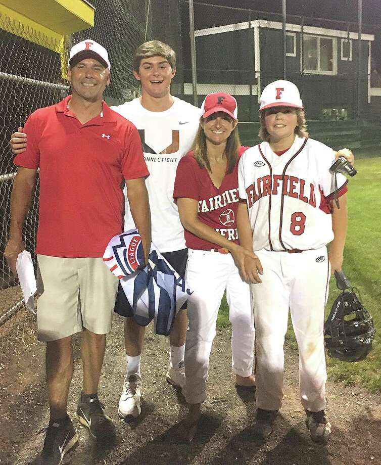 The Randazzo family, from left, dad Mike, oldest son Michael, mom Lisa and youngest son Leo, have finally made their way to the Little LEague World Series in South Williamsport, Pa., this week. The family's roots are based in Norwalk where Mike Randazzo had an outstanding career. Photo: Contributed Photo / Hearst Connecticut Media / Norwalk Hour