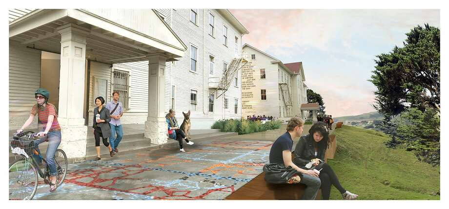 Ball-Nogues Studio�s Welcome Terrace East & West (foreground), a new site-specific installation and pedestrian walkway, created as part of Headlands Commons. Photo: Rendering By CMG Landscape Architecture