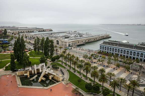 A view of the Vaillancourt Fountain and the Embarcadero from the Hyatt Hotel in San Francisco, Calif., on Monday, Aug. 14, 2017.