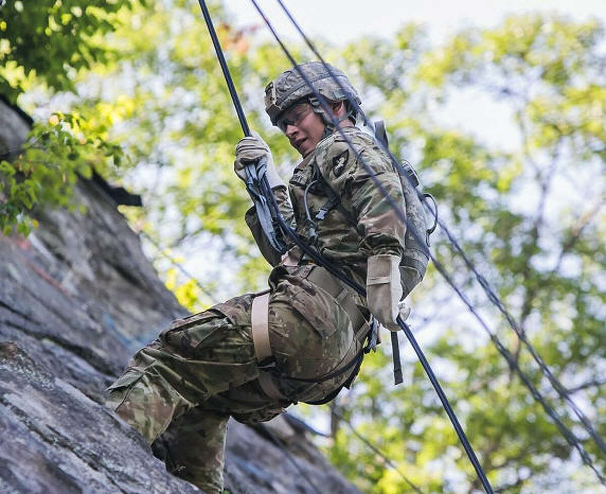 A cadet practices rapelling during Cadet Basic Training at West Point.