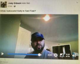 Joey Gibson, an organizer of the group Prayer Patriot, in a Facebook video challenging San Francisco officials' charges that his group's Aug. 26 gathering at Crissy Field is a white supremacist event.