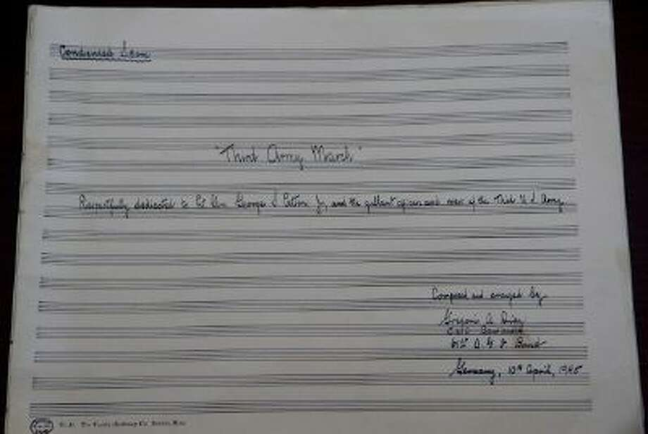 """The dedication page for the condensed score of the """"Third Army March,"""" dated April 10, 1945."""