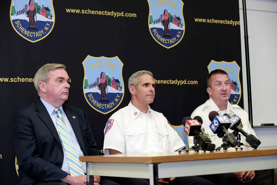 Schenectady Mayor Gary McCarthy, left, Schenectady Fire Chief Ray Senecal, center, and Schenectady Police Chief Eric Clifford take part in a press conference at the police station on Tuesday, Aug. 15, 2017, in Schenectady, N.Y.(Paul Buckowski / Times Union) Photo: PAUL BUCKOWSKI / 20041296A
