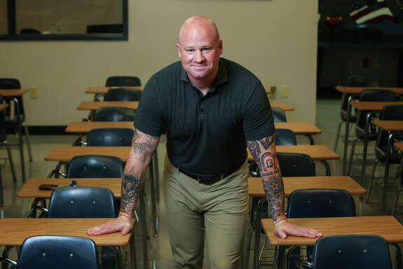 Jeff Shelton, who spent over 20 years serving in the armed forces, retiring as a Major from the U.S. Air Force, is preparing to start his second year teaching at Lamar Consolidated High School in Rosenberg, Thursday, July 3, 2017.