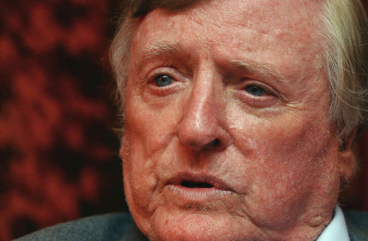 """William F. Buckley Jr., the conservative pioneer and television """"Firing Line"""" host, responds to questions during a 2004 interview in New York. Buckley died Feb. 27, 2008. (Frank Franklin II)"""