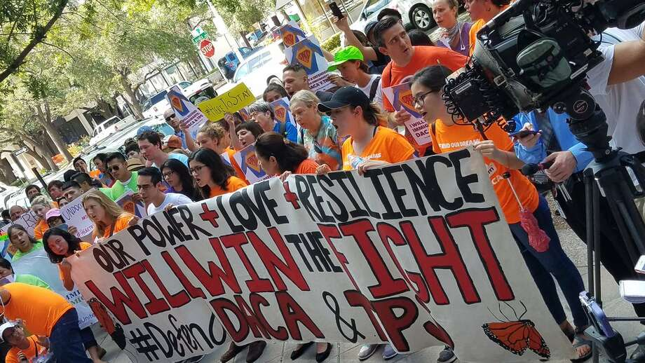 Six community members were arrested Tuesday, Aug. 15, 2017, while rallying on behalf of 800,000 youth immigrants who are being put in imminent danger of deportation by Texas Attorney General Ken Paxton's threat to kill the Deferred Action for Childhood Arrivals (DACA) Program. Photo: United We Dream