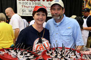 Vicki and Gary Holcombe during the Tasting for Some Other Place at the Beaumont Civic Center on Tuesday evening.   Photo taken Tuesday 8/15/17 Ryan Pelham/The Enterprise
