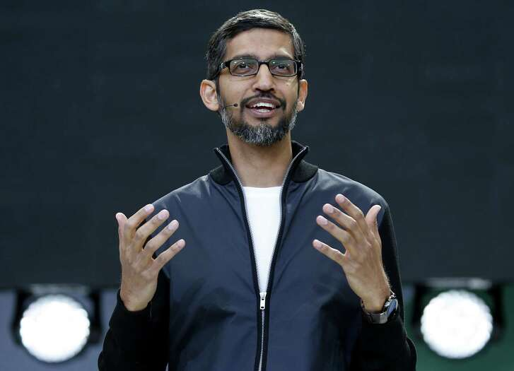 Google CEO Sundar Pichai (left) stood with the mob when he fired engineer James Damore (right) for a memo seeking to scientifically explain why 80 percent of Google's engineers are male.