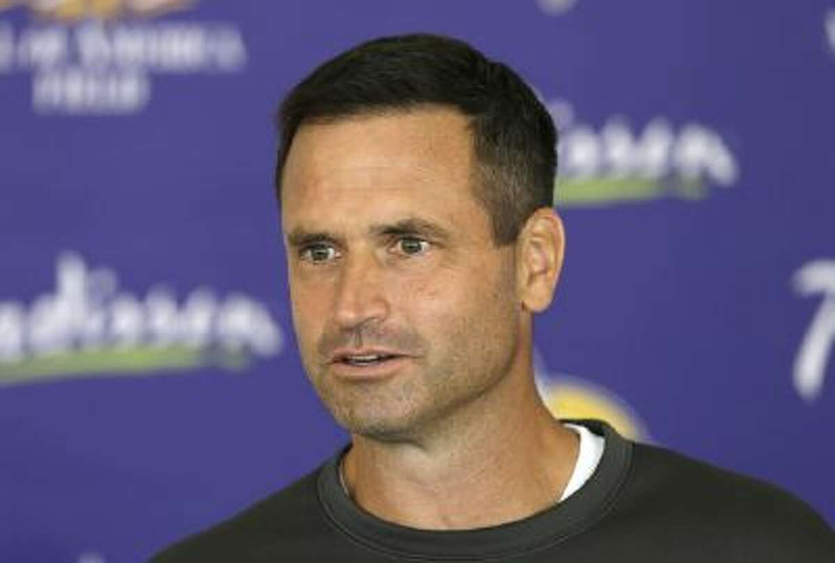 Minnesota Vikings special teams coordinator Mike Priefer speaks to reporters following a July practice.