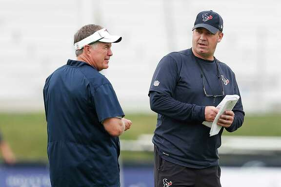 Patriots coach Bill Belichick, left, and Texans counter-part Bill O'Brien renew acquaintances Tuesday.