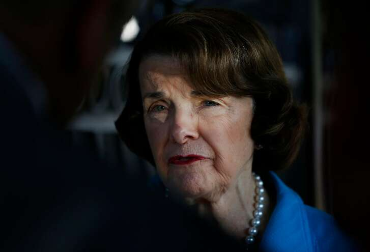 Senator Dianne Feinstein, right, speaks with members of the press after meeting with Maria Mendoza-Sanchez and her family in the Sanchez home and Mendoza-Sanchez's deportation order August 10, 2017 in Oakland, Calif.