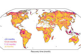 Global patterns of drought recovery time, in months. The longest recovery times are depicted in shades of blue and pink, with the shortest recovery times in yellow. White areas indicate water, barren lands, or regions that did not experience a drought during the study period.
