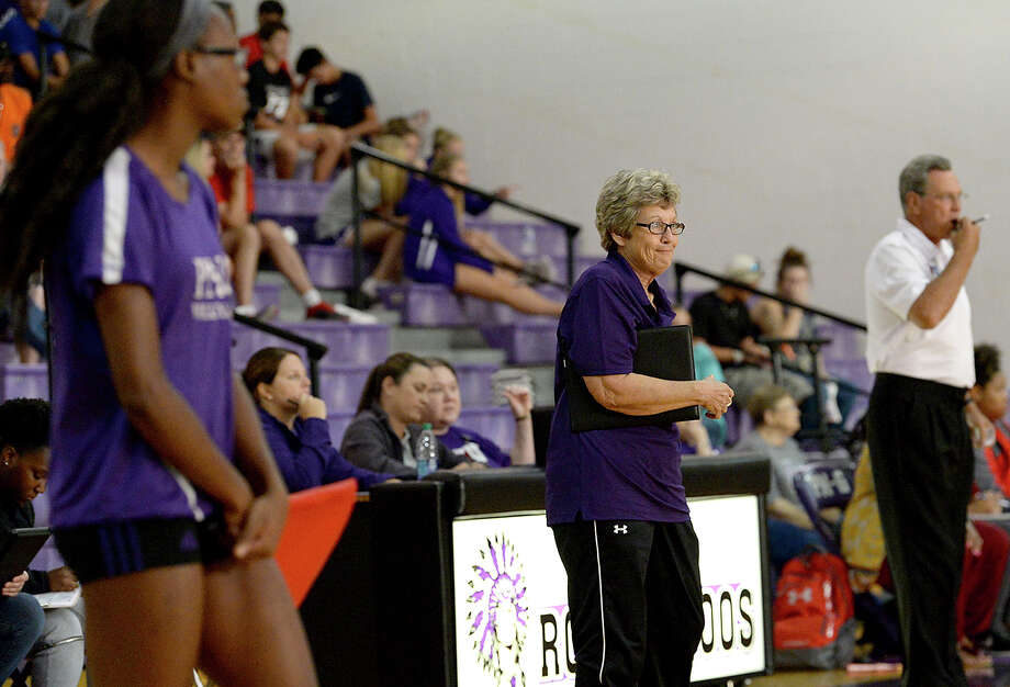 Port Neches - Groves' head coach Barbara Comeaux takes in the action against West Brook during their non-district match-up Tuesday in Port Neches. Photo taken Tuesday, August 15, 2017 Kim Brent/The Enterprise Photo: Kim Brent / BEN