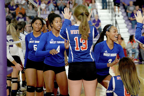 West Brook's varsity pumps up as they take the court to face Port Neches - Groves during their non-district match-up Tuesday in Port Neches. Photo taken Tuesday, August 15, 2017 Kim Brent/The Enterprise