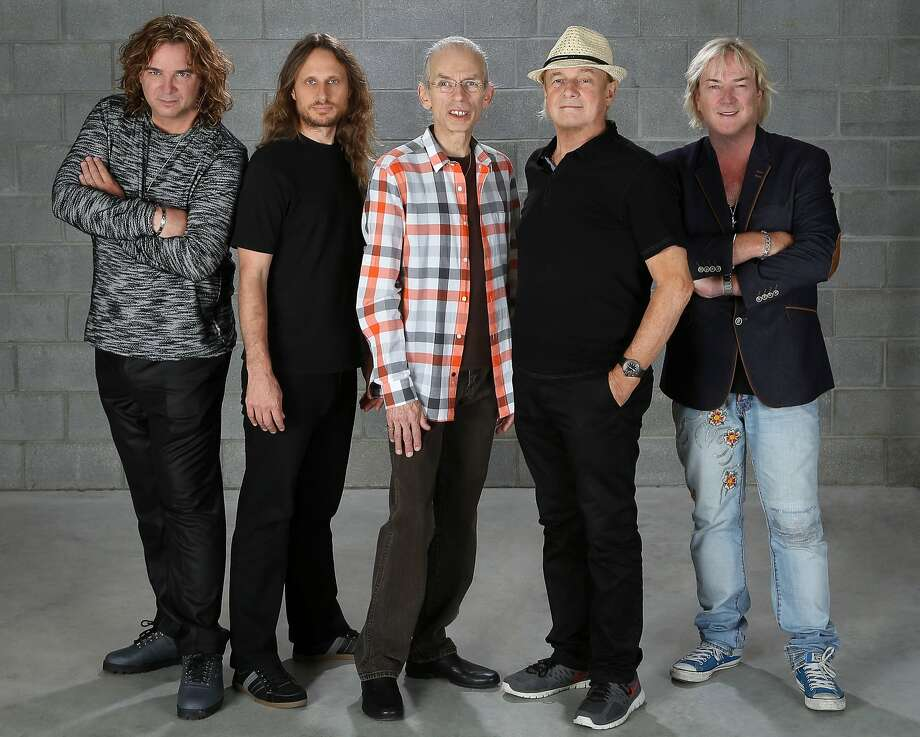 One version of Yes includes Billy Sherwood (left), Jon Davison, Steve Howe, Alan White and Geoff Downes. Photo: MSO PR