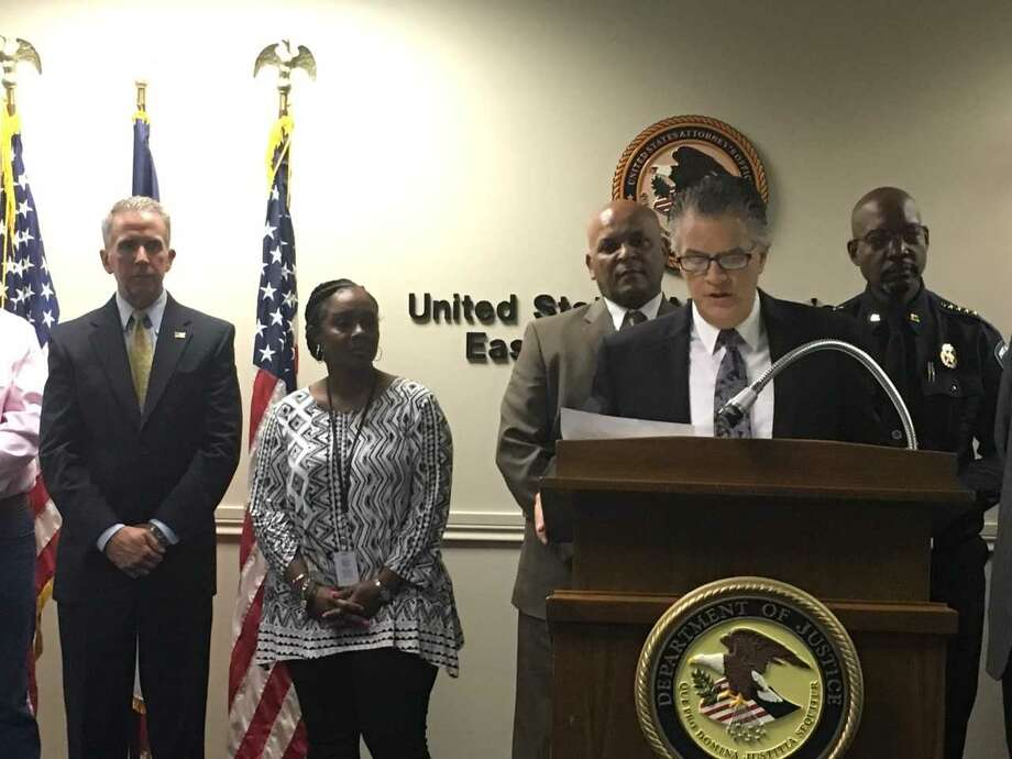 Acting U.S. Attorney Brit Featherston announced Tuesday, Aug. 15, 2017 that 32 people have been charged in federal firearms cases as part of a multi-agency effort to combat gun violence. Photo: Morgan Gstalter