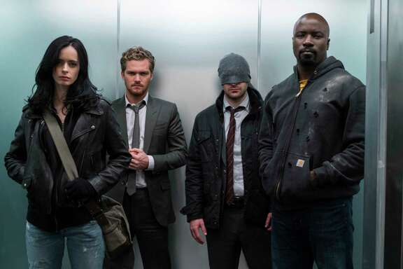 """The Defenders"" on Netflix teams (from left) Jessica Jones (Krysten Ritter), Danny ""Iron Fist"" Rand (Finn Jones), Matt ""Daredevil"" Murdock (Charlie Cox) and Luke Cage (Mike Colter). (Sarah Shatz/Netflix)"