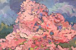 """The Stairwell Gallery at Gunn Memorial Library on Wykeham Road in Washington is presenting a new collection of New England landscapes by Heather Scofield through Sept. 9. Above is Scofield's """"Cherry Blossoms."""""""