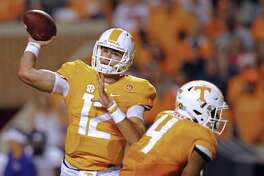 Tennessee quarterback Quinten Dormady passes against Western Carolina in Knoxville, Tenn., on Sept. 19, 2015.
