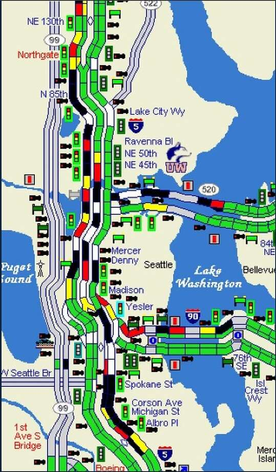 Traffic was backed up on major highways around Seattle Wednesday after a street closure downtown earlier in the morning. Photo: WSDOT